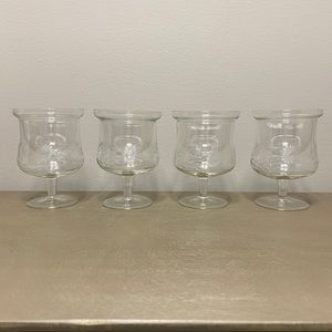 Vintage Floral Engraved Shrimp Cocktail Glasses